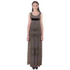 Brown Alligator Leather Skin Empire Waist Maxi Dress