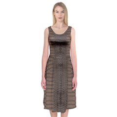 Brown Alligator Leather Skin Midi Sleeveless Dress by LoolyElzayat