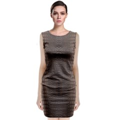 Brown Alligator Leather Skin Classic Sleeveless Midi Dress by LoolyElzayat