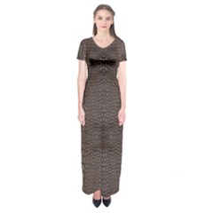 Brown Alligator Leather Skin Short Sleeve Maxi Dress by LoolyElzayat