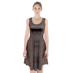Brown Alligator Leather Skin Racerback Midi Dress by LoolyElzayat