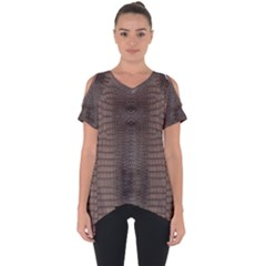 Brown Alligator Leather Skin Cut Out Side Drop Tee by LoolyElzayat