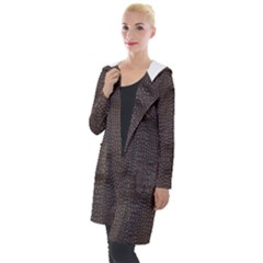 Brown Alligator Leather Skin Hooded Pocket Cardigan by LoolyElzayat