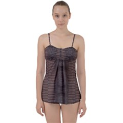 Brown Alligator Leather Skin Babydoll Tankini Set by LoolyElzayat