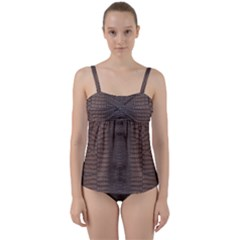 Brown Alligator Leather Skin Twist Front Tankini Set by LoolyElzayat