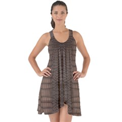 Brown Alligator Leather Skin Show Some Back Chiffon Dress by LoolyElzayat