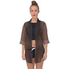 Brown Alligator Leather Skin Open Front Chiffon Kimono by LoolyElzayat