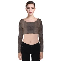 Brown Alligator Leather Skin Velvet Long Sleeve Crop Top by LoolyElzayat
