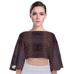 Brown Alligator Leather Skin Tie Back Butterfly Sleeve Chiffon Top by LoolyElzayat