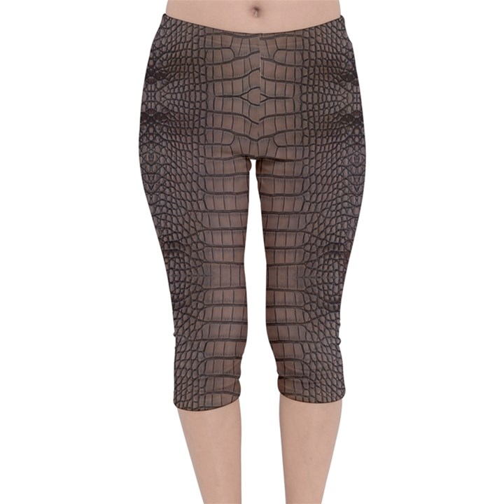 Brown Alligator Leather Skin Velvet Capri Leggings