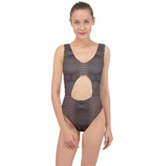 Brown Alligator Leather Skin Center Cut Out Swimsuit by LoolyElzayat