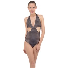 Brown Alligator Leather Skin Halter Front Plunge Swimsuit by LoolyElzayat