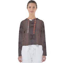 Brown Alligator Leather Skin Women s Slouchy Sweat