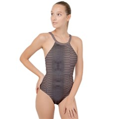 Brown Alligator Leather Skin High Neck One Piece Swimsuit by LoolyElzayat