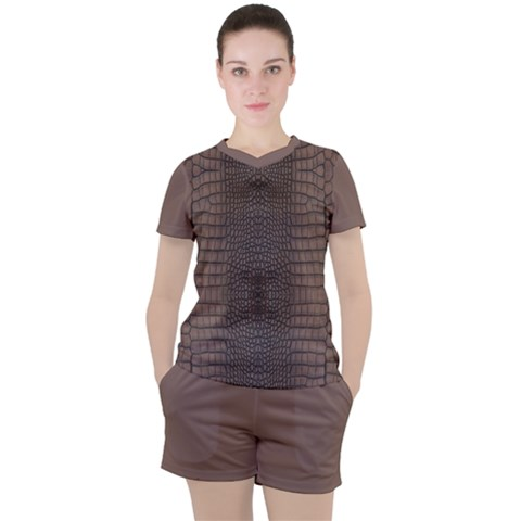 Brown Alligator Leather Skin Women s Tee And Shorts Set by LoolyElzayat