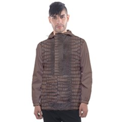 Brown Alligator Leather Skin Men s Front Pocket Pullover Windbreaker by LoolyElzayat