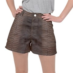 Brown Alligator Leather Skin Ripstop Shorts by LoolyElzayat