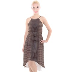 Brown Alligator Leather Skin High-low Halter Chiffon Dress  by LoolyElzayat