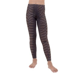 Brown Alligator Leather Skin Kids  Lightweight Velour Leggings