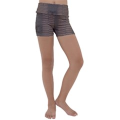 Brown Alligator Leather Skin Kids  Lightweight Velour Yoga Shorts by LoolyElzayat