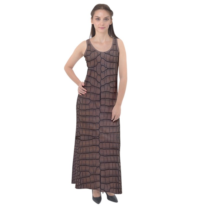 Brown Alligator Leather Skin Sleeveless Velour Maxi Dress