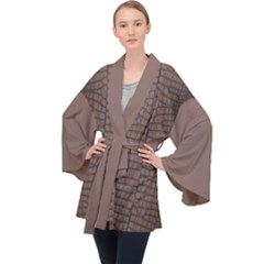 Brown Alligator Leather Skin Long Sleeve Velvet Kimono  by LoolyElzayat