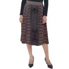 Brown Alligator Leather Skin Classic Velour Midi Skirt  by LoolyElzayat