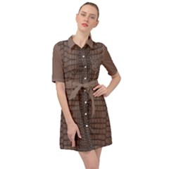 Brown Alligator Leather Skin Belted Shirt Dress by LoolyElzayat
