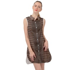 Brown Alligator Leather Skin Sleeveless Shirt Dress by LoolyElzayat