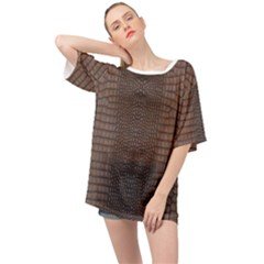 Brown Alligator Leather Skin Oversized Chiffon Top by LoolyElzayat