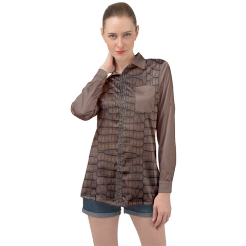 Brown Alligator Leather Skin Long Sleeve Satin Shirt by LoolyElzayat