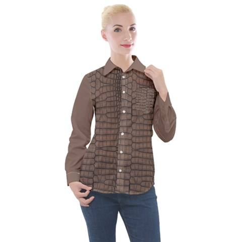 Brown Alligator Leather Skin Women s Long Sleeve Pocket Shirt by LoolyElzayat