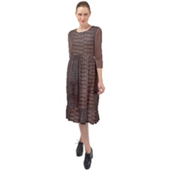 Brown Alligator Leather Skin Ruffle End Midi Chiffon Dress by LoolyElzayat
