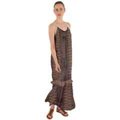 Brown Alligator Leather Skin Cami Maxi Ruffle Chiffon Dress by LoolyElzayat
