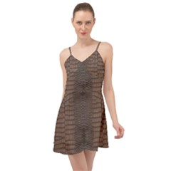Brown Alligator Leather Skin Summer Time Chiffon Dress by LoolyElzayat