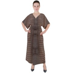 Brown Alligator Leather Skin V-neck Boho Style Maxi Dress by LoolyElzayat