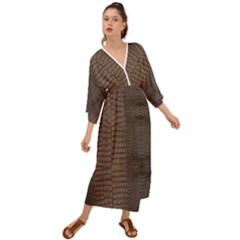 Brown Alligator Leather Skin Grecian Style  Maxi Dress by LoolyElzayat