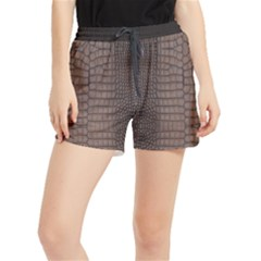 Brown Alligator Leather Skin Runner Shorts by LoolyElzayat