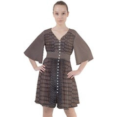 Brown Alligator Leather Skin Boho Button Up Dress by LoolyElzayat