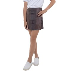 Brown Alligator Leather Skin Kids  Tennis Skirt by LoolyElzayat