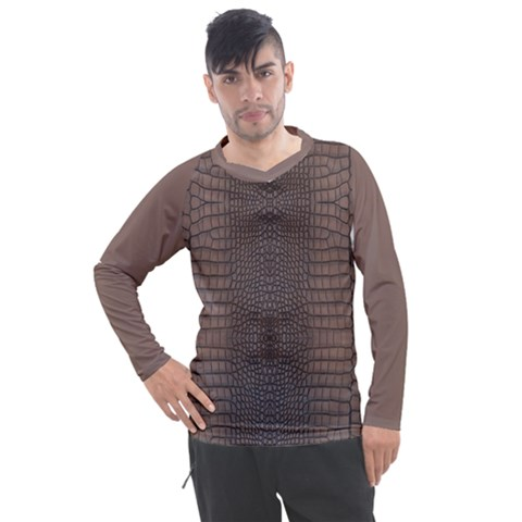 Brown Alligator Leather Skin Men s Pique Long Sleeve Tee by LoolyElzayat