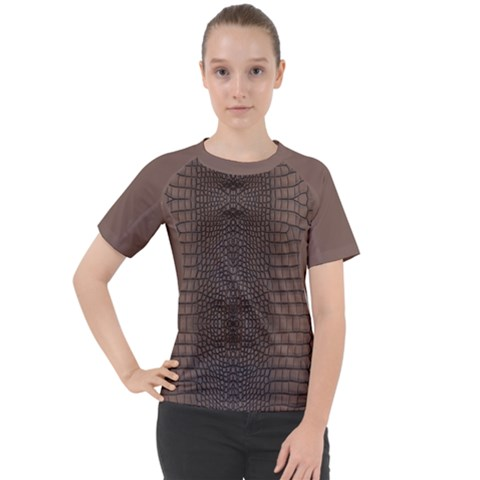 Brown Alligator Leather Skin Women s Sport Raglan Tee by LoolyElzayat