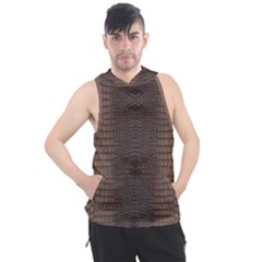 Brown Alligator Leather Skin Men s Sleeveless Hoodie by LoolyElzayat