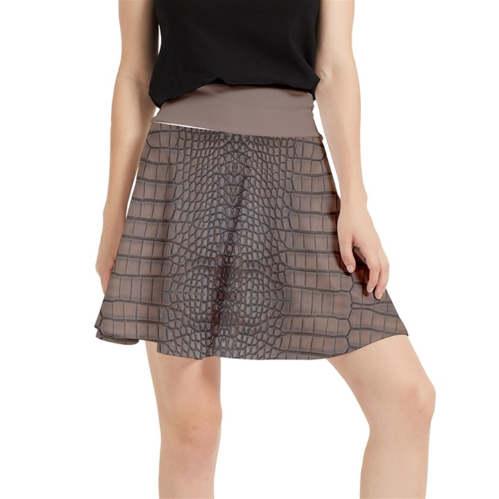 Brown Alligator Leather Skin Waistband Skirt