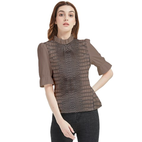 Brown Alligator Leather Skin Frill Neck Blouse by LoolyElzayat