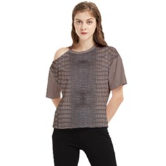 Brown Alligator Leather Skin One Shoulder Cut Out Tee by LoolyElzayat