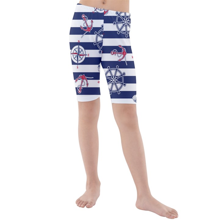 Seamless-marine-pattern Kids  Mid Length Swim Shorts