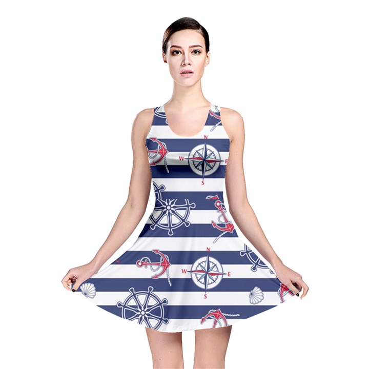 Seamless-marine-pattern Reversible Skater Dress