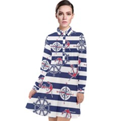 Seamless-marine-pattern Long Sleeve Chiffon Shirt Dress
