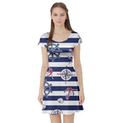 Seamless-marine-pattern Short Sleeve Skater Dress
